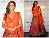 esha gupta bollywood designer red bridal lehenga - 5160 ib-9002
