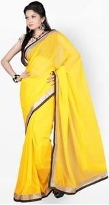Silk Bazar Yellow Embroidered Saree