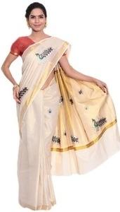 fashion kiosks beige cotton saree