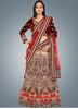 Mesmerizing Cream Colored Embroidered Net Bridal Lehenga Choli 101
