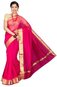 pavecha's banarasi cotton silk solid party saree - tf dno 1001 pink mk1812