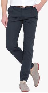 Hubberholme Navy Blue Solid Slim Fit Chinos