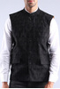 black cotton satin waistcoat
