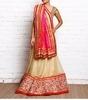 pink & golden bead embellished & embroidered chiffon lehenga set