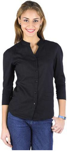 Trend Arrest Formal 3/4th Sleeve Solid Women's Black Top