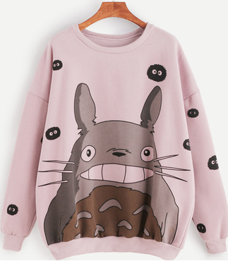 Pink Cartoon Print Drop Shoulder Seam Sweatshirt