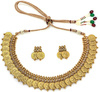 golden coin embellished temple necklace set