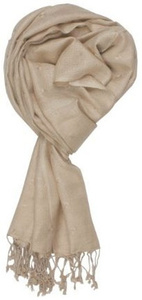 in-sattva colors - woven square printed solid colored scarf stole beige