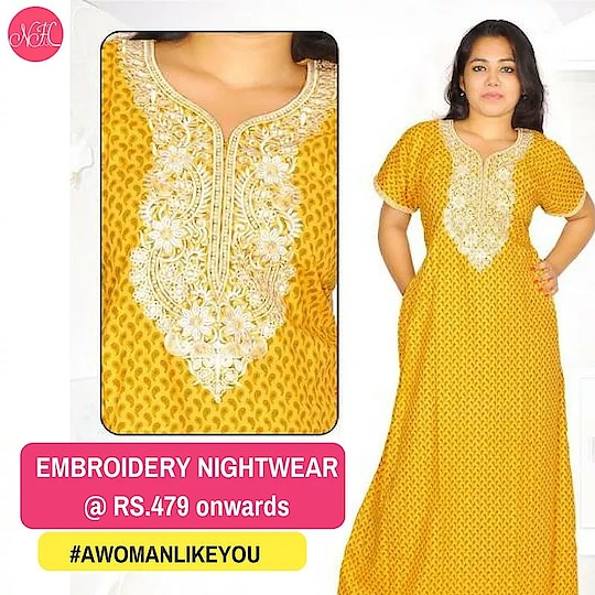 This Yellow Embroidery Nightgown is one of the most loved nightwear among women.   Shop here: http://bit.ly/2Ivue9o Also avail Rs.100 OFF using the code - SHE100.   #WomenNightwear #awomanlikeyou #womenclothing #women #nightsuits #nightgowns