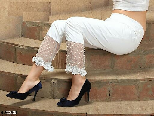 Fashionable Women's Silk Cotton Pant Fabric: Silk Cotton  Size: L - 28 in - 34 in, XL - 36 in - 42 in  Length: 38 Inches  Work: Pearl & Lace Work 1110 Only #be-fashionable #silkcotton #pants #shopwithus #likeit #cashondelivery #thebazaar #buyitnow #followme #followmeonroposo