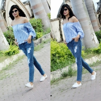 ❤️Love the combination of blue ripped denim👖.. and light blue bardot top👚 #bluelove  #bardottop #rippeddenim  #ootd  #fashiondiaries  #outfit inspiration  #fashionweek  #fashionbloggerindia  #casualstyle  #allabouttoday  #roposostylediaries  Bardot top from #esprit  All collection from #westside
