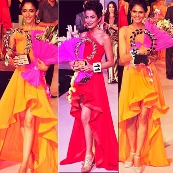 Red or Citrine...? Its beauty queens all the way.. Celebrating the success of @manushi_chhillar as India has a plethora of talent and beauty.. Kudos to Femina Miss India who hunt out the talent from different zones of our vast, talented, culturally strong India. Seen here winners of #FeminaStyleDiva2014 directed by @achlasachdev hosted by @archanavijaya for @femina_missindia @feminaindia  Winners @hidasiddiqui @hidasiddiqui4ever @meenubaliyan33 @nikakapur in @labelnityabajaj asymmetric dresses curated for the finale round #fashion #fashionshow #beautypageant #pageant #winners #labelnityabajaj