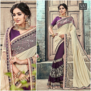 Buy Now @ https://goo.gl/gtNXH5  Ravishing Purple And Off White Color Half N Half Saree  Fabric- Georgette  Product No 👉 VJV-ROYK30267  @ www.vjvfashions.com  #saree #sarees #indianwear #indianwedding #fashion #fashions #trends #cultures #india #instagood #weddingwear #designer #ethnics #clothes #glamorous #indian #beautifulsaree #beautiful #lehengasaree #lehenga #indiansaree #vjvfashions #pretty #celebrity #bridal #sari #style #stylish #bollywood #vjvfashions