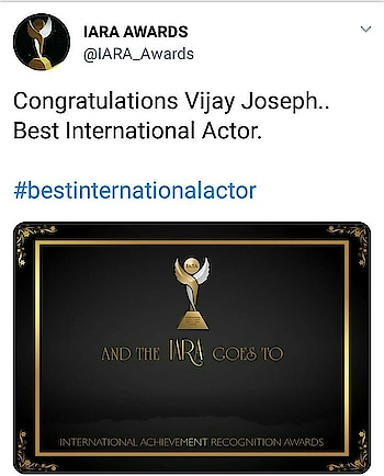#Thalapathy @actorvijay wins Best International Actor Award for #Mersal at #London based @IARA_Awards - Congratulations!   #BestInternationalActorVijay  #thalapathyvijay #iara_awards_2018_results  #tamilactress