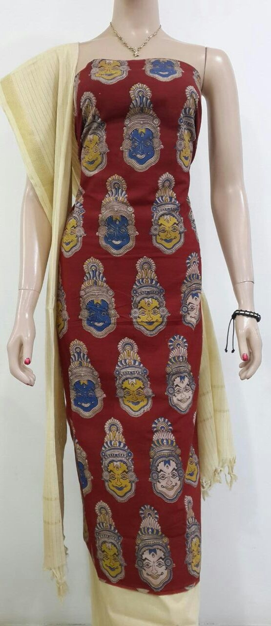 999/- Kalamkari cotton top with  cotton bottom and dupatta... tk