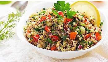 Quinoa is like wealth for health. Yes you heard it right.  Ingredients Of Quinoa Salad : 1 Cup Quinoa 2-3 Baby carrots Broccoli Asparagus Cauliflower 1 Cup Lentils 1 Cup Pomegranate 2 Spring onions Coriander For the dressing: 1 Mosambi (juiced) 1 tsp Mustard 2 Tbsp Olive oil Lemon grass 1/2 Green chilli, chopped 4-6 Basil leaves How to Make Quinoa Lentil Salad? Add salt to boiling water and par-blanch the vegetables for almost 45 seconds. Shift them in a bowl with ice water. Add soaked quinoa to a bowl. Then add lentils, pomegranate seeds to it. Chopped spring onions to it and coriander, mix them well. Add the blanched vegetables to the lentil and quinoa mix. Prepare the dressing: Take fresh mosambi juice and add mustard, lemon grass, chopped green chilli, basil leaves and some olive oil to it. Mix it well with the salad. Yummy salad is ready to eat. #fitness #health #healthyfood #healthyrecipes #healthyrecipes #healthysnacks #healthyeating #healthy #tips_beautyou #wellness #salad #recipes #easyrecipes #snacks #lunch #dinner #sprouts #veggies #dietfood #lowcalories #weightlossjourney #weightloss #weightlosstransformation #weightlosssupport