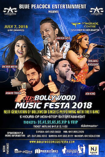 ‪Toronto, get ready to rock this summer with our RockStar's Bollywood Music Festa 2018 🎼 RockStar @AamanTrikha will set the stages of @poweradecentre on fire on the 7th of July 2018 🔥 with the power team #AntaraMitra @AzizNakash @itsShalmali #AshKing .. buy your tickets now 🎬‬
