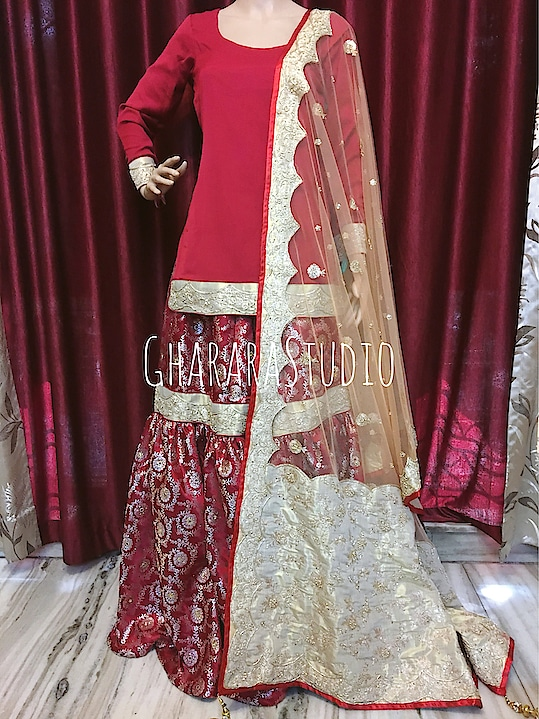 Gharara in maroon kamkhwab with net dupatta. Dupatta has zardozi handwork embroidery on golden tissue base.  🌈WhatsApp at +919971865919 to order 🌈Deliver complete stitched to your size  🌈Deliver Worldwide   #gharara #ghararastudio #ghararastudiobyshazia #redgharara #kamkhwabgharara #kimkhaab #bridal #wedding #nikah #zari #cutworklace #embroidery #fashion #instafashion #fashiongram #fashionblogger #fashionblog #fashiondiaries #fashionstyle #fashiongirl #fashionpost #indianfashion #indianwedding #muslimahfashion #buyghararaonline #ghararalove #ghararah #muslimbride #pakistanigharara