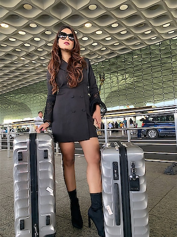Airport diaries ♥️♥️😍♥️♥️✈️✈️ Love my @tumitravel luggage bag ✈️😍😍 : Off to MALDIVES 🇲🇻 With my mom for birthday celebration 💃💃 last moment plan 💃 mini vacation 💃 : Outfit @drobekart 😍😍 Boots @egoofficial 👢👢 💃must check out both the page for their Amazing collection ♥️♥️ 💃💃 : #maldives #birthdaycelebration #birthday #birthdaytrip2018  #tumitravel #tumi #louisvuitton #vacationmode #vacationtime #maldivesislands #maldives2018 #airport #airportfashion #traveller #luxurylifestyle #luxurytravel #airportlook #airportphotography #airportstyle #csia #csiamumbai #travelblogger #nehamalik #model #actor #model #blogger #instagood #instatravel