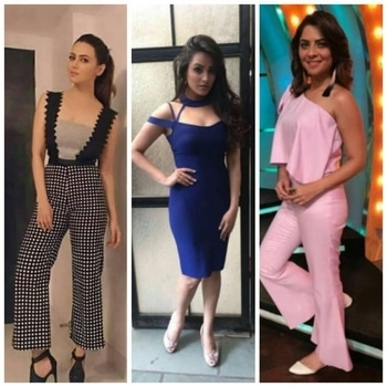 Set in serenity blue, lilac,black and white checkered ensembles by Dimple and Amrin that adds a feminine charm. From a prom night to the cocktail party, here's your licence to drool on! Shop Dimple and Amrin at www.shopviolla.com  Shop here: http://www.shopviolla.com/designers/dimple-and-amrin