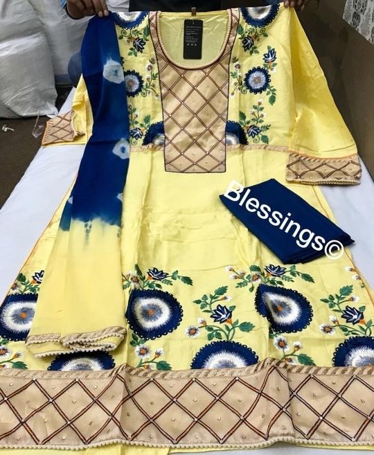 ‼️SALE PRODUCTS‼️  At Flat Rate Rs. 1900+$   🌟DESIGNER DRESSES🌟 Pure Glaze Satin w/ Deep Thread Work all along the sleeves  Pure Chiffon Dupatta  Cotton Bottom   Max size 3XL  Contact 08291171057 for orders/inquiries.   #silk  #dress #trend #fashion #wedding #bridal #bride #latestfashion #ootd #sale #ethnicwear #gotapati #fashion #shopping #patiyalasuits #designerfashion #newarrival #onlineshopping #latesttrend #fashionpost #fashionlove #fashionoftheday #fashionlook #fashionlover #trending #trendyfashion #onlineboutique #onlinestore #onlineshop  #designer #banarasisuit