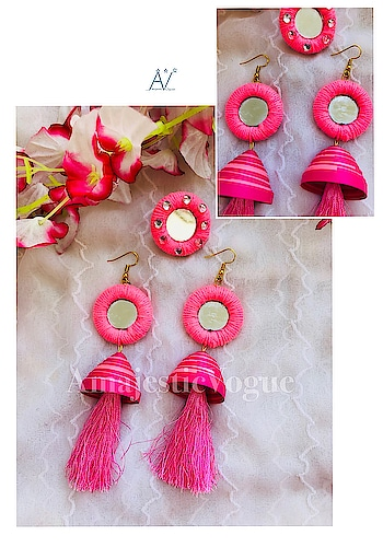 Mirror jhumka tassel earring & ring set (available in all colors)  #AmajesticVogue . Get it for yourself #limitedstock #ordernow ✔️ #Inbox or Whatsapp 7044966220 us to give order ✔️ . #jewllerygram #designer #jewellerylove #designerbag #bloggerstore #brand #handmadejewelry #handmade #grabit #stylish #different #chic #bohojewelry #pearl #statement #stylish #tasselearrings #longjhumkaa #statementearrings