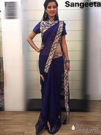 Sangeetasharma#navyblue#saree#georgette#embroideryinspiredbybirds#savebird#stylishblouse#silhouetteflowy#breezy#comfortable#suitstoanyoccassion💙💙💙💙💙