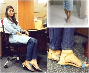 Blue and Beige Mid-heels Sandals