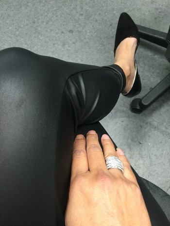 Another day at work #ninewest #flatsuedes #pleather #rhinestones #ring #blackonblack