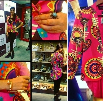 Aafreen Vaz in Label Kristy De Cunha  Skull Flower Power structured Peplum Jacket Price on Request. email us kristydecunhacorp@gmail.com