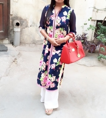 Front zipper smart kurti make an elegant combination worn by our lovely client.