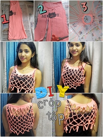 My #First #DIY #DIYproject #From #old #tshirt to #fun #croptop  #NOSEW #scissors and #Knots  #Summerready #RoposoLove #soroposo