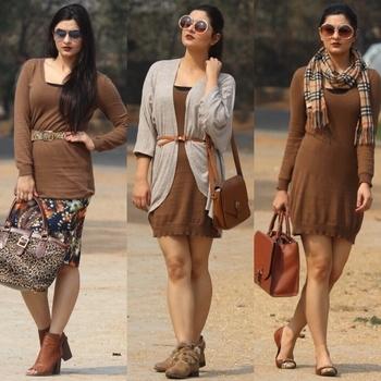 "3 ways to style a ""Sweater Dress""  #3ways #styling #sweaterdress #differentwaystostyle #brown #fallfashion #soroposo #roposofashion #fashionblogger #fashionista #delhiblogger #personalstyleblogger #stylist #brownbeige #fashionpost #roposostylefiles #roposolove #roposostory #roposogirl"