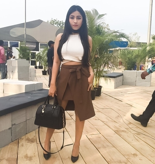 1st Day Amazon Fashion Week by Maybelline India #AIWF #MaybellineLounge  Outfit Details  Top - Stalk Buy Love Skirt - Zara Bag and Heels - Charles and Keith Choker - DIY