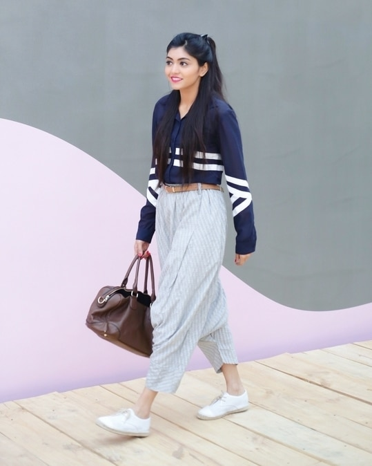 Day 2 at AIFW!  Outfit Details:  Blue Shirt: Jabong Dhoti Pants: thrift shop Belt: HnM Bag: Forever 21 Shoes: ASOS  #maybellineatfashionweek #aifw #fdci