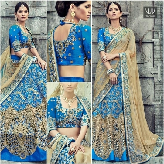 Beautiful and Captivating Blue net and raw silk Designer Lehenga Saree