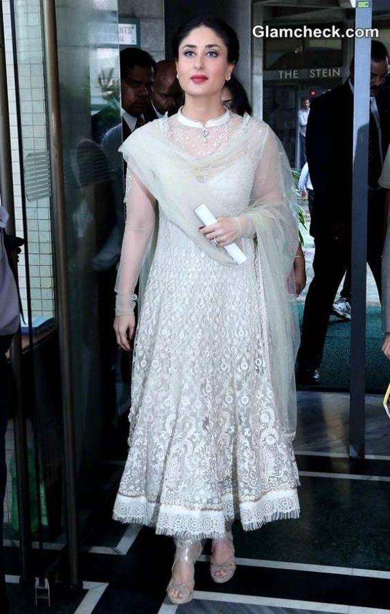 Kareena Kapoor in White Anarkali Festive Look