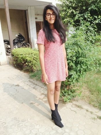 #MyFirstPost #SoRoposo #dress #straighthair #boots #chic #red #smile