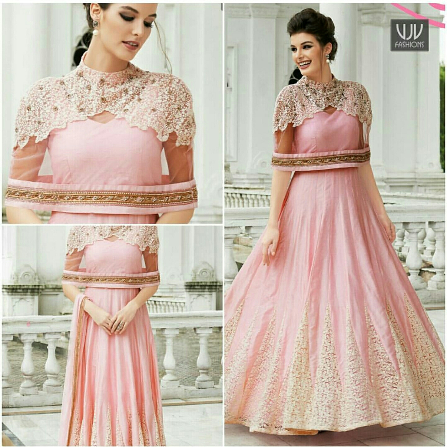 Royal Pink Color And Embroidered Net Designer Suit