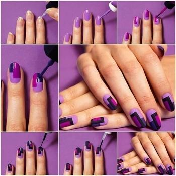 Purple geometric Nails...