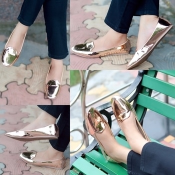 Metallic Rose Gold Loafers from Tiesta Shoes