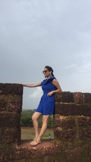 Goa Diaries 💙 #bluejumpsuit  #frenchconnection #fcuk #statementearrings #blue #blueandblue #aldoshades