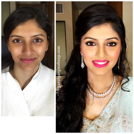 Beautiful Engagement Makeup with soft eyes and hot pink lips for this charming girl! Makeup by Parul Garg. Contact 9599588312 #parulgargmakeup  #makeup