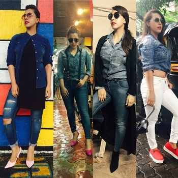 #othd denim story for denim lovers diff ways of wearing your denim shirt . Pic credit- Photograher M.j hairstylist- Meena #denimsquad #deninstory #denimstyle #denimlove #denim #denimshirt #doubledenimizing #denimlove #edgydenimdiaries #denimmoments #denimio #denimfreak #jeans #blue #white #rains #fadeddenim #trendy #denimistrendy #whitedenim #bluejeans #denimondenim #rippedjeans #highheels #suspenders #shades #rough #sneakers #fashionista #fashionstylist