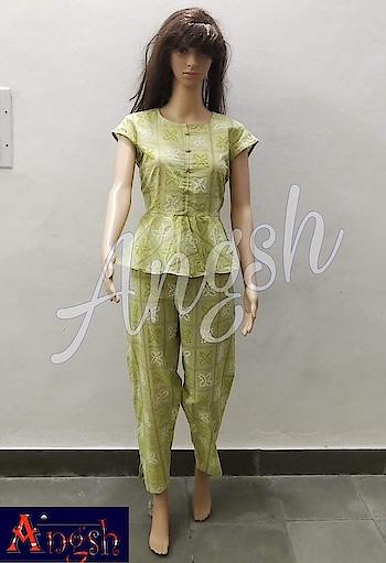 #peplum #pants #bhandejgreen #cotton #summerwear #designer #stylish #trending #angsh #jaipur  Dm to order😊