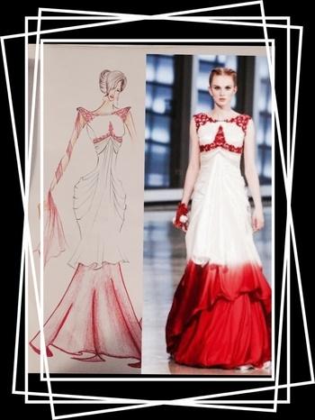 Paper to cloth.......  Sketch to garment ..... Dream into reality .......#thisishowedoit #gown #gownlove #ethnictouch #whitenred #worldtradecentre #NYC #reshmariyazgangji #reshmaganji #libasreshmariyaz