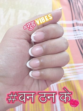 French manicure. All time Favourite thing 😍 #chdgehri #chandigarh #chandigarhbloggersmeetup #bloggingdiaries #frenchmanicurenails #favouritecolor  #banthanke #goodvibes #goodvibes #banthanke