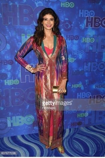 #RedCarpet ##Emmys #HBO #AfterParty in #asifmerchant #vintage #banarsi #Gold #Zari #silk #jacket #SanjayKasliwal #jemPalace #jewels #thaleblanc  #clutch Pic Courtesy #gettyimages