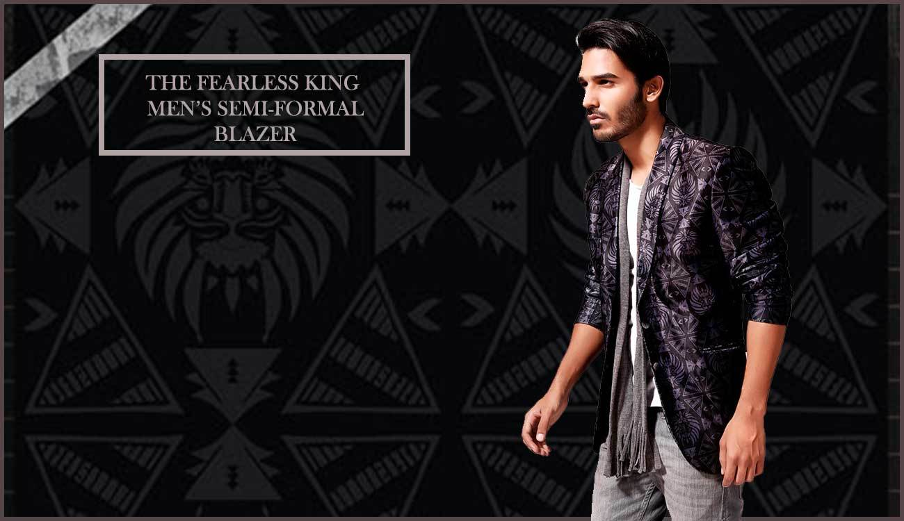 "Enrich your Wardrobe & Lifestyle with ""The Fearless King"" Men's Semi-Formal Printed Blazer. Price : INR 2590  #RedesynForCanopy3 #ApparelForCanopy3 #Below1000ForCanopy3 #RoposoCanopy3 #nicecollection #mensblazer #blazer #autumnwinter #semiformalblazer #printedblazer #coat #jacket #formal #printedblazer #designer #designedbyartists #art #fashion #styling #style #shoot #menswear #mens #streetstyle #goodmaterial #semiformal #blackblazer #black #classy #mensfashion #creative #coolgraphics #lovefordesign"