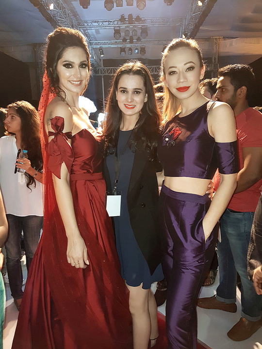 Pune Fashion Week : DAY 1 . After the Nitya Bajaj Show with the show stopper Bruna Abdullah.